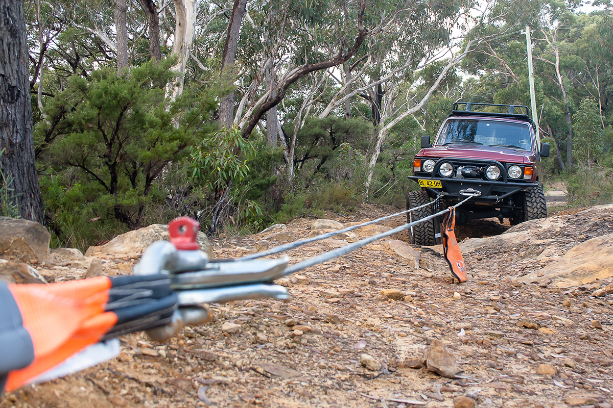 Dragging-the-car-out-of-the-pit-with-a-winch