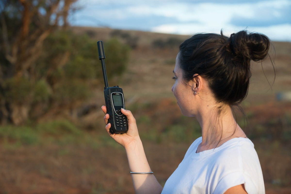 A-woman-with-a-UHF-radio