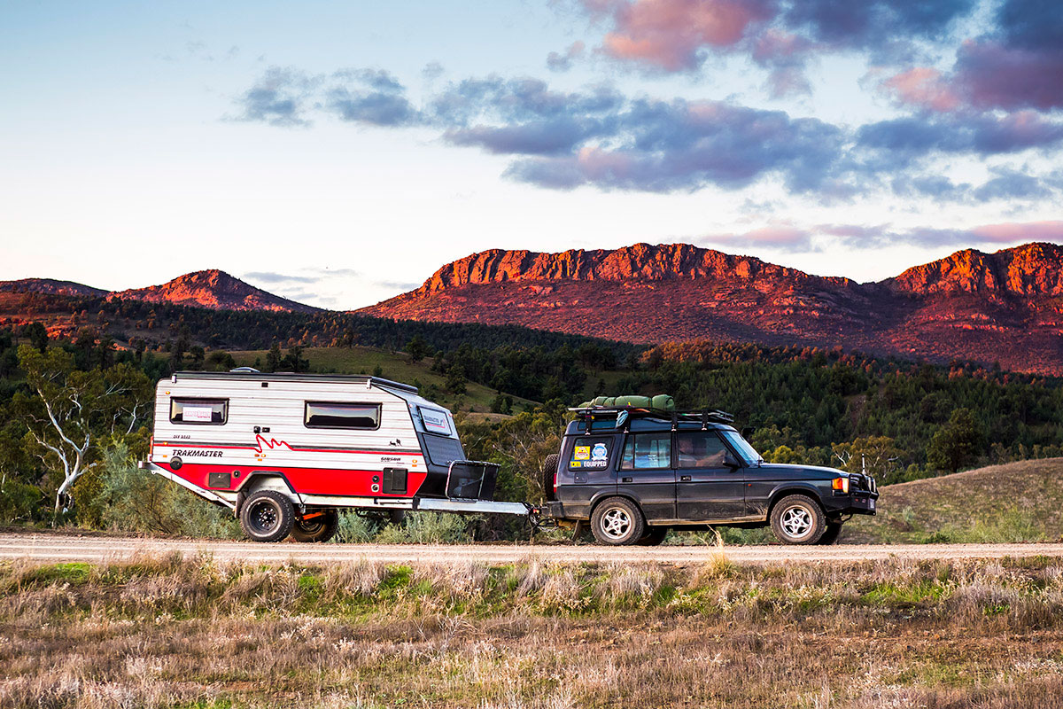 Towing-Trackmaster-caravan-in-the-outback